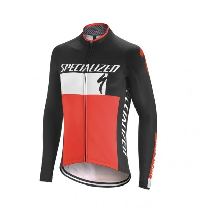 Maillot Specialized Element Roubaix Comp Logo LS Negro Blanco Rojo