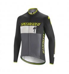 Maillot Specialized Element Roubaix Comp Logo LS Negro Blanco Verde