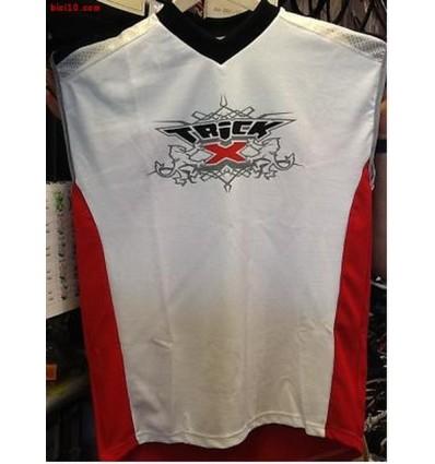 Maillot Trick-X  FREERIDE sin manga blanco rojo