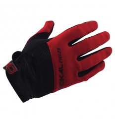 Guantes Pokal Largo MTB Cycles negro y rojo  T.L
